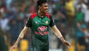 Bangladesh's Mustafizur Rahman celebrates