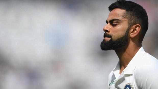 India batsman Virat Kohli reacts after being dismissed