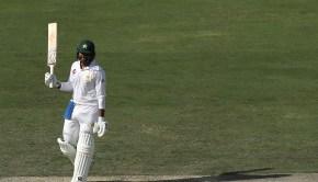 Haris Sohail of Pakistan celebrates after reaching his century