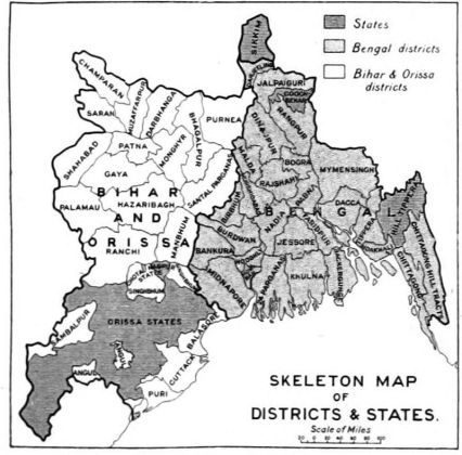 Provincial Map of Bengal showing Greater Mymensing Area (present Division with Tangail and Kishoreganj) in 1976