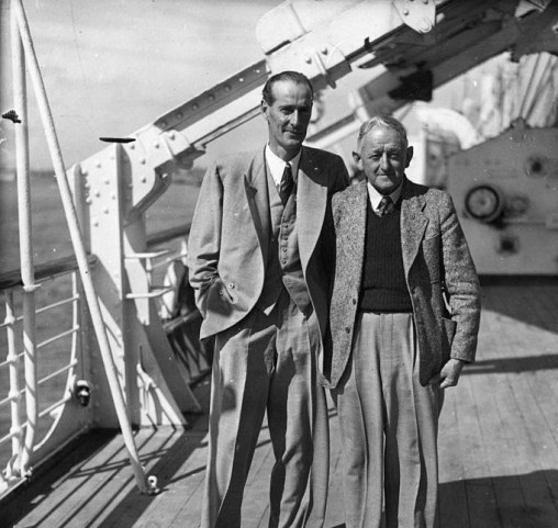 South African cricket captain Alan Melville (1910 - 1983) poses for a photo with well known cricket scorer Bill Ferguson, on the deck of the 'Durban Castle' at Southampton. Image Courtesy: Getty Images