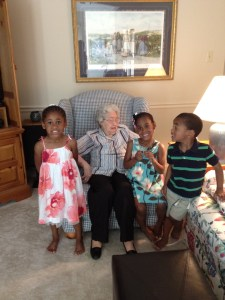 Mom with great-grandkids