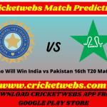 India vs Pakistan 16th T20 World Cup 2021 Match Prediction