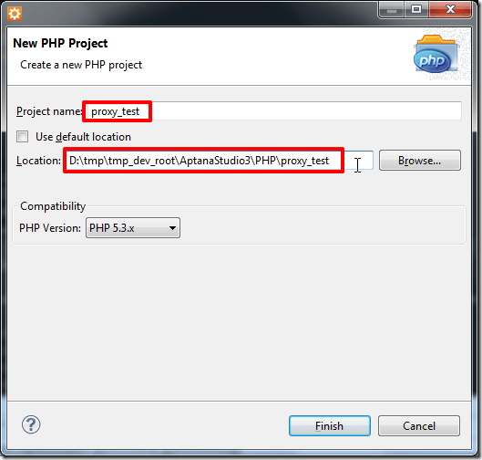 input php name set path use php 5.3.x then finish