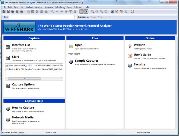 wireshark main ui