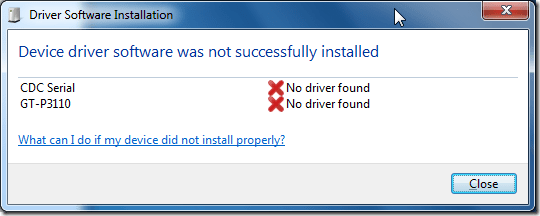 device driver software was not successfully installed for CDC Serial and GT-P3110