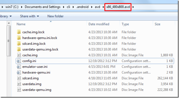 into avd folder not find property folder