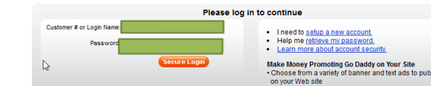 re login to continue for godaddy