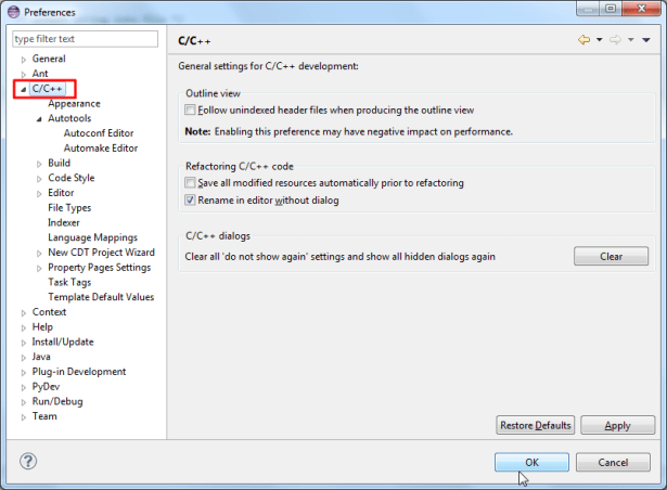 eclipse support c cpp now