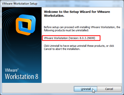 click uninstall for 8.0.3 vmware