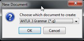 new antlr 3 grammar .g file
