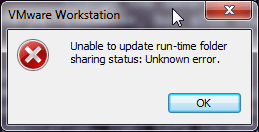 unable to update run-time folder sharing status