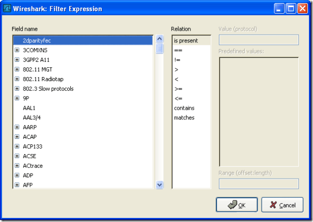The Filter Expression dialog box