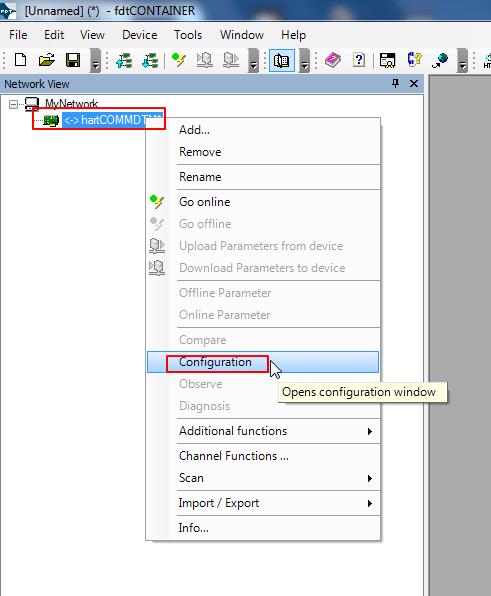 right click hartCOMMDTM configuration