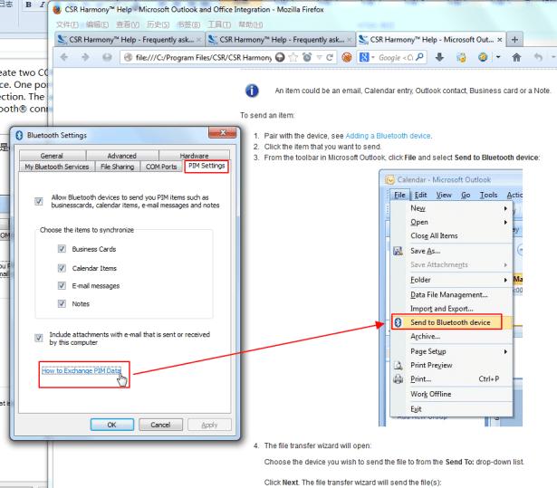 csr bluetooth settings PIM settings exchange pim data