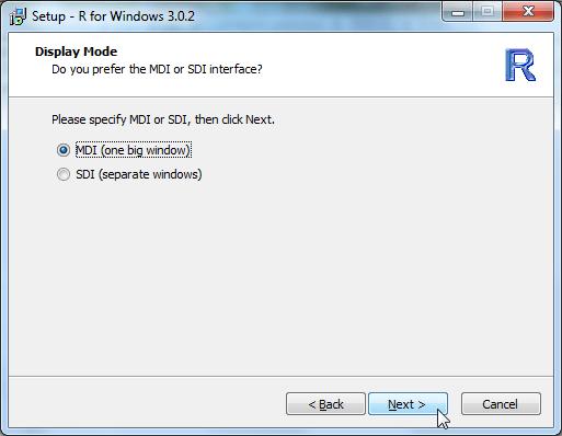 Setup R for Windows 3.0.2 display mode MDI one big window
