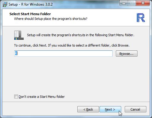 Setup R for Windows 3.0.2 select start menu folder
