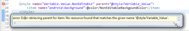 Error retrieving parent for item No resource found that matches the given name style Variable_Value