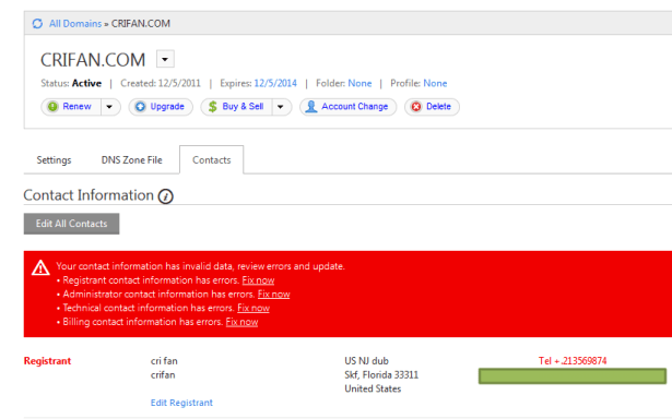 red color alert contact info is fake in godaddy