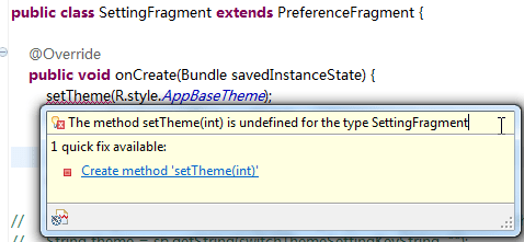 The method setTheme(int) is undefined for the type SettingFragment