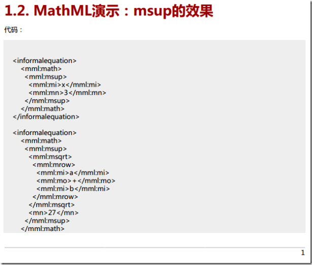 collect many mathml code and example 2