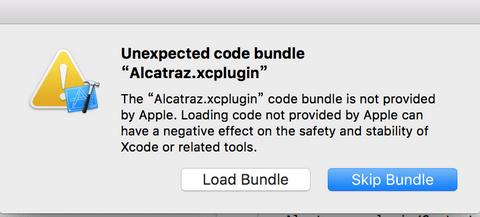 Unexpected code bundle Alcatraz.xcplugin