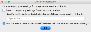 android studio I do not have previous version