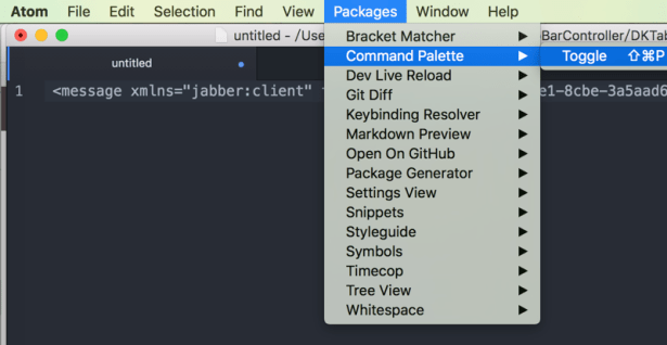 atom packages command pallete toggle