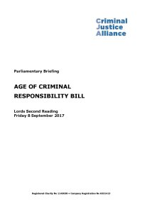 Age of Criminal Responsibility Bill Lords Second Reading cover page