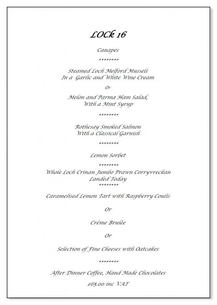 Crinan Hotel Dining  Sample Menus