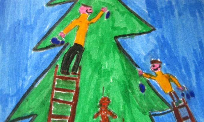 bambini decorano l albero