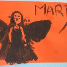 disegno numero 9 di una bambina corvo