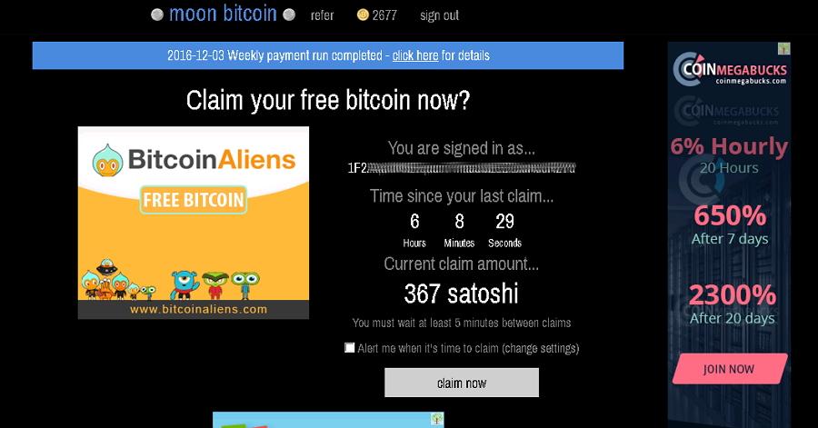 Ejemplo de Faucet. Fuente Moon Bitcoin
