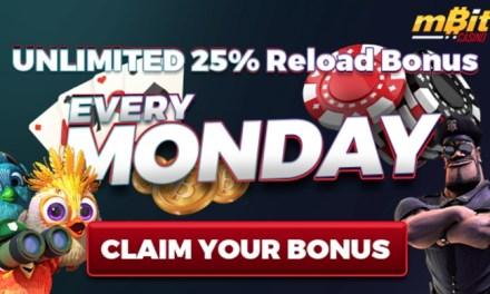 Mbit Casino ofrece bono de recarga ilimitada de 25%