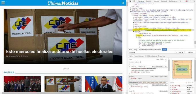 Paginas web venezolanas minan Monero a expensas de sus visitantes