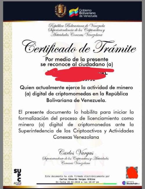 Certificado Mineria Criptomonedas Venezolano