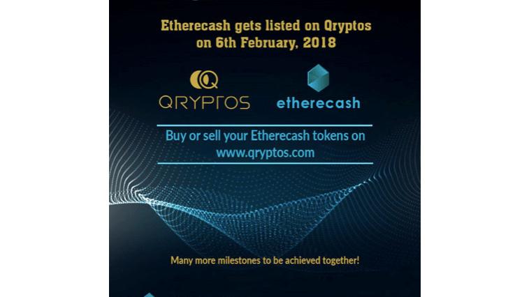 Etherecash, startup criptomoneda, cotiza su Token en QRYPTOS después de exitosa Crowdsale