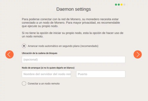 Configuracion del daemon de monero. Dejarlo con las opciones por defecto nos dará un nodo completo de XMR.