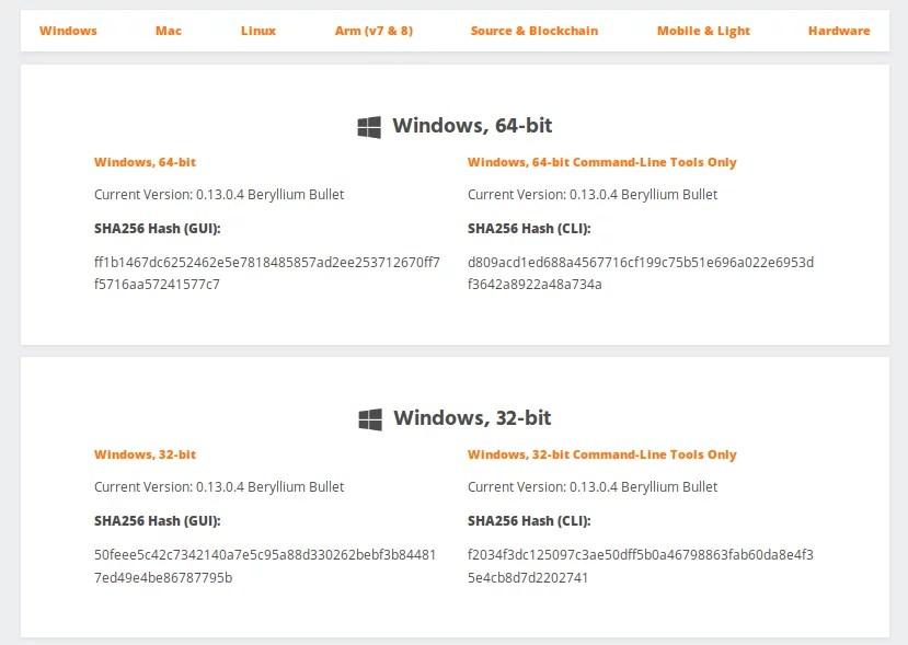 Opciones de descarga de software Monero para Windows