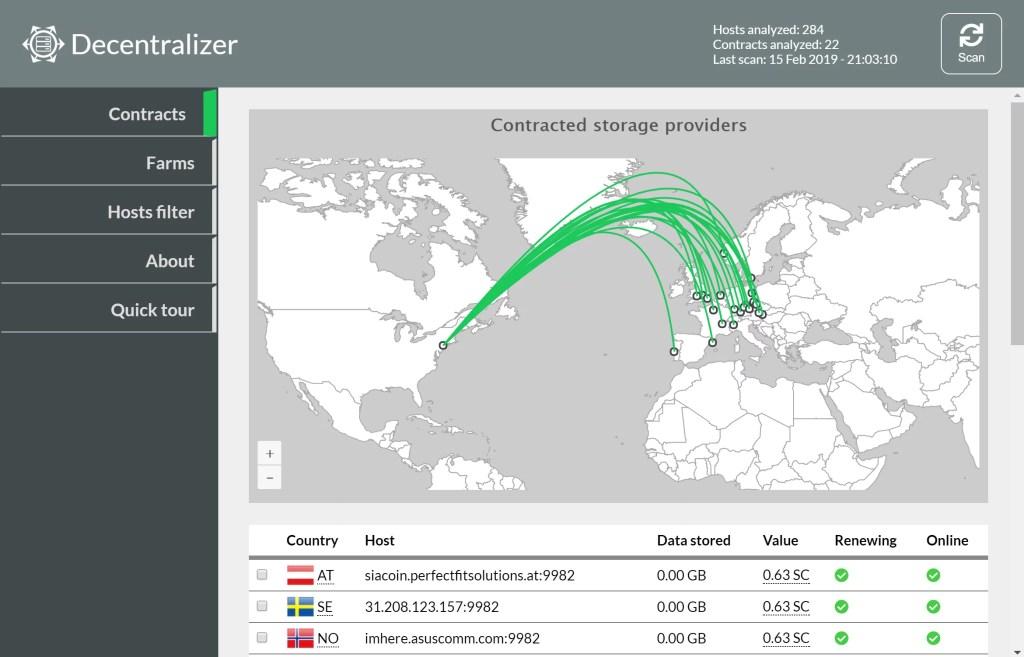 Screenshot mostrando el funcionamiento de Descentralizer