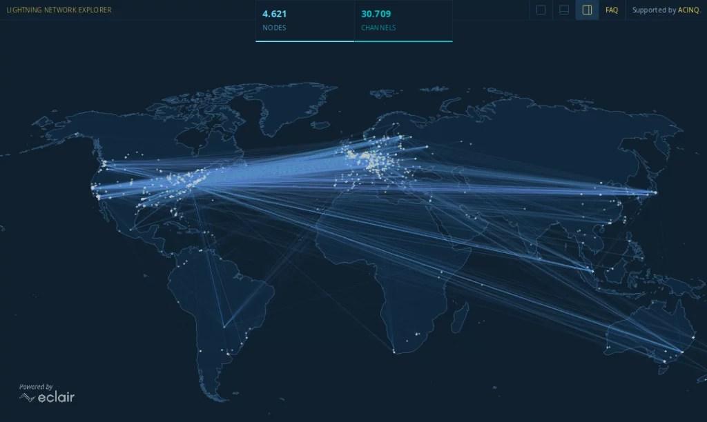 LN y sus nodos activos en la actualidad y su distribución en todo el mundo