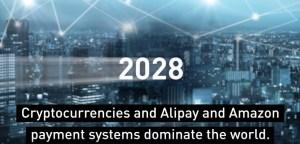 2028 le Criptovalute, Alipay e Amazon sono i metodi di pagamento che dominano i mercati mondiali nel mondo.
