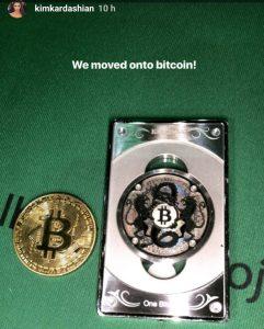 Kim Kardashian Bitcoin Storia Instagram