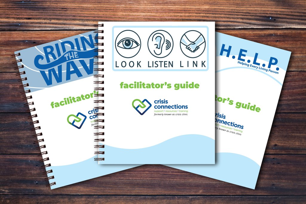 youth suicide prevention curriculum: riding the waves, look listen link, H.E.L.P.