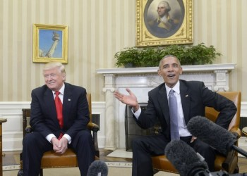 U.S. President Barack Obama meets with President-elect Donald Trump on Thursday, Nov. 10, 2016 in the Oval Office of the White House in Washington, D.C. in their first public step toward a transition of power. (Olivier Douliery/Abaca Press/TNS) ORG XMIT: 1192944