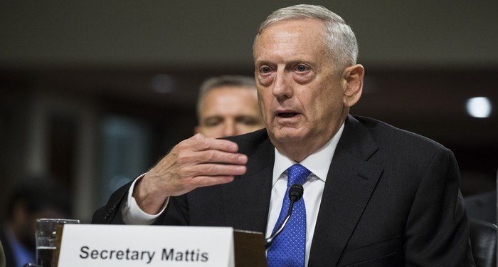 WASHINGTON, USA - JUNE 13: Secretary of Defense Minister James Mattis testifies before the Senate Armed Services Committee on President Trumps proposed 2018 budget for the Department of Defense in Washington, USA on June 13, 2017. (Photo by Samuel Corum/Anadolu Agency/Getty Images)