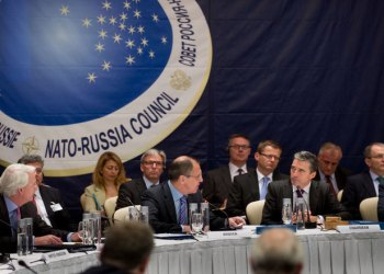 NATO-Russia Council meeting in Sochi, Russia. View of the room. Left to right: the Permanent Representative for the US to NATO, Ivo Daalder; Russian Minister of Foreign Affairs, Sergei Lavrov and NATO Secretary General Anders Fogh Rasmussen.