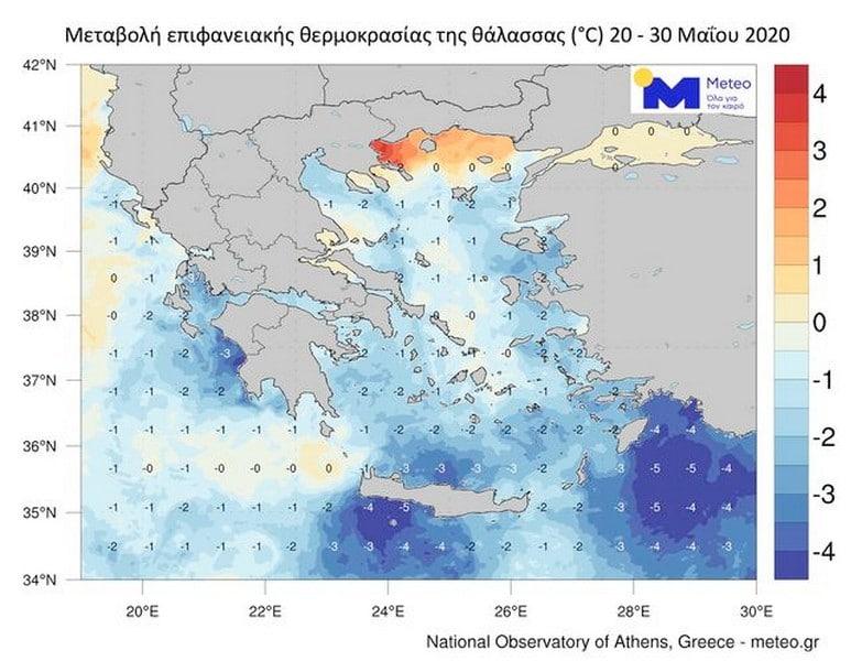 Απότομη υποχώρηση της επιφανειακής θερμοκρασίας της θάλασσας στην Ελλάδα 24