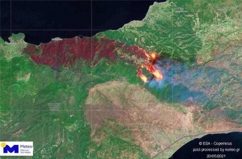 Η φωτιά στον Σχίνο από δορυφόρο
