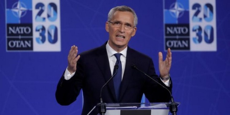 NATO Secretary General Jens Stoltenberg holds a news conference during a NATO summit at the Alliance's headquarters, in Brussels, Belgium, June 14, 2021. Olivier Hoslet/Pool via REUTERS